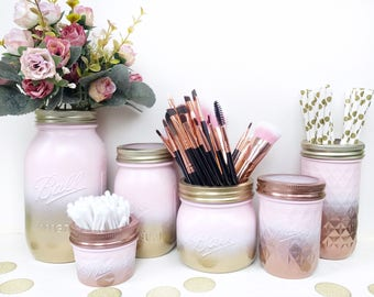 Gold Pink mason jar, gold decor, pink makeup brush holder, rose gold desk accessories, gold dressing table, blush pink makeup organiser