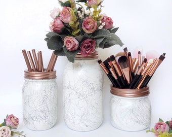 Marble desk accessories, Rose gold marble, marble home decor, white marble mason jar, makeup brush holder, marble storage, marble office pot