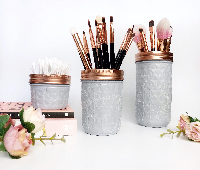 grey mason jar grey and rose gold makeup brush holder etsy. Black Bedroom Furniture Sets. Home Design Ideas