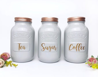 Grey Kitchen Set Of 3 Tea Coffee And Sugar Canisters