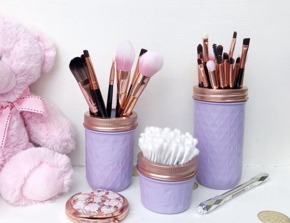 Violet mason jar lilas maquillage brosse cuivre rose