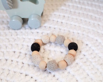 100% cotton Eco nursing bracelet /Gray and black bracelet  /Breastfeeding bracelet /Teething Bracelet/Handmade baby gift