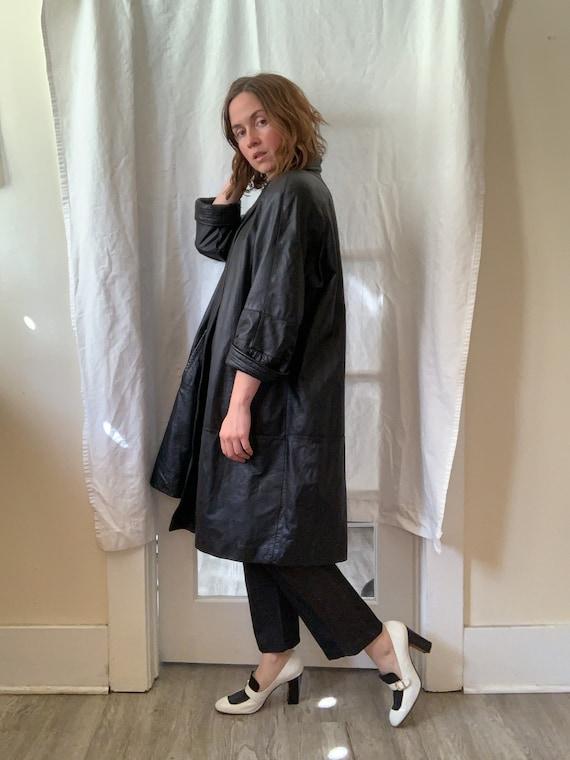 Black Leather Swing Coat / Free Size
