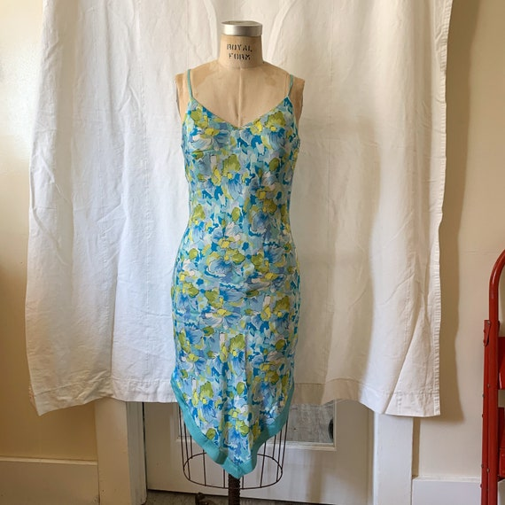 Aqua Floral Slip Dress / Size Medium