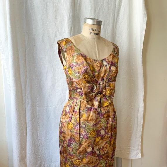 60's Metallic Floral Floor Length Dress
