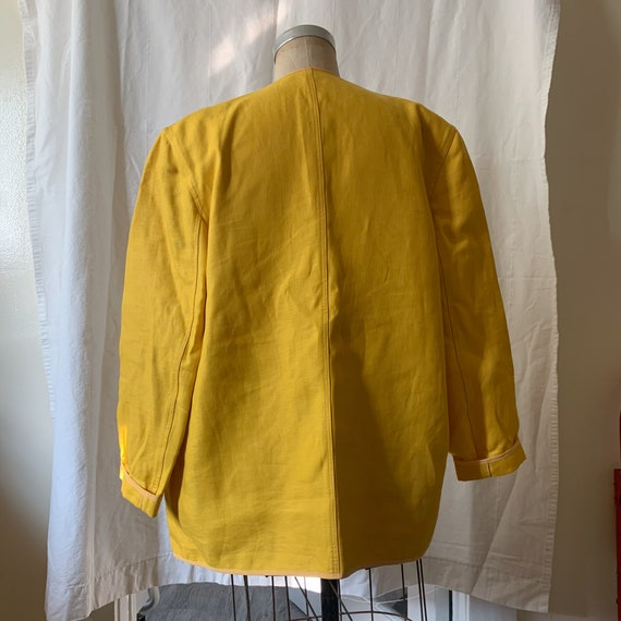 Geoffrey Beene Marigold Linen and Silk Jacket / s… - image 3