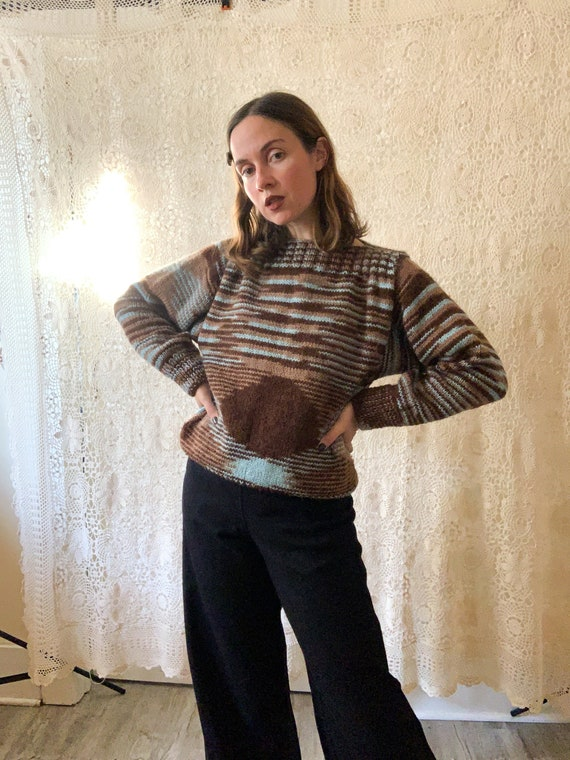 Variegated Hand-knit Sweater / Size Small