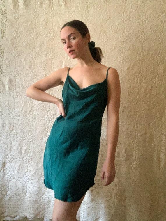 Emerald Green Silk Slip / Size Small