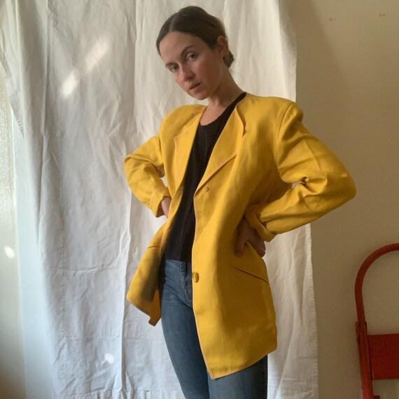 Geoffrey Beene Marigold Linen and Silk Jacket / s… - image 2