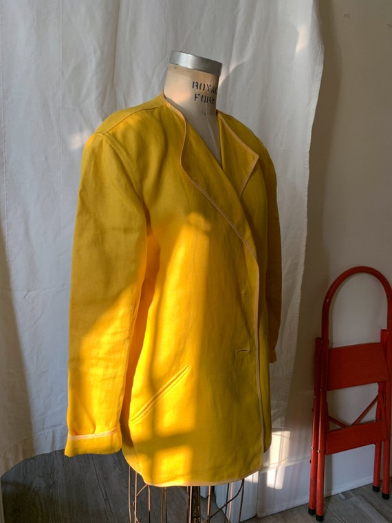 Geoffrey Beene Marigold Linen and Silk Jacket / s… - image 7