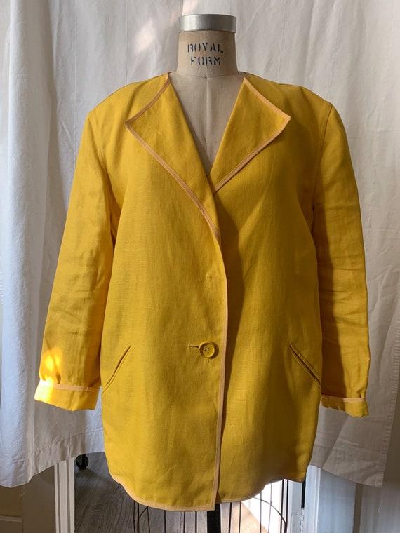 Geoffrey Beene Marigold Linen and Silk Jacket / s… - image 4