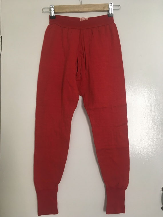 Red Cotton and Wool Long Underwear