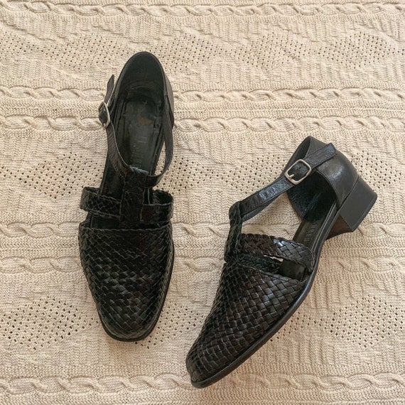 Italian Woven Leather Mary Jane / size 8