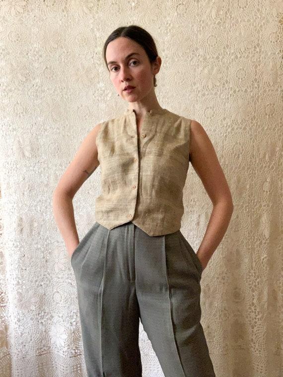 Woven Raw Silk Vest / Size Medium
