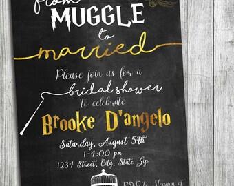 ef238137eda9 Custom Gold + Chalkboard Harry Potter Bridal Shower - Muggle to Married - Wedding  Shower - Harry Potter Theme - Chalkboard Background
