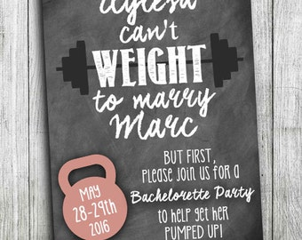 Cross Fit Wedding - Custom Bachelorette Party Invitations - Fitness Wedding Shower - Crossfit Bachelorette - Fitness Bachelorette Party
