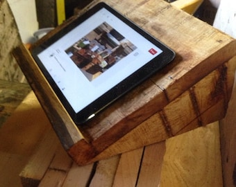 Tablet/iPad stand made with reclaimed timber