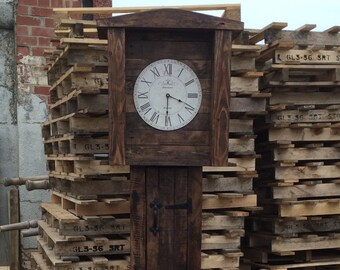 Grandfather-style Clock with storage made with recycled pallet wood