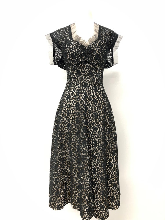 Vintage Women 40s Black Lace Dress