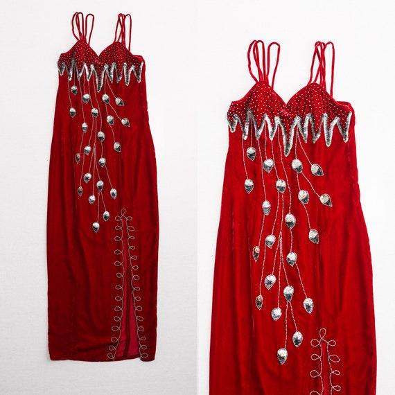 Vintage Velvet Dreams Sequin Crane Dress