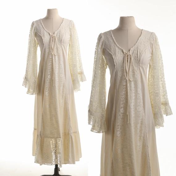 Gunne Sax Dress  Lace Sleeves Prairie Long Dress - image 1