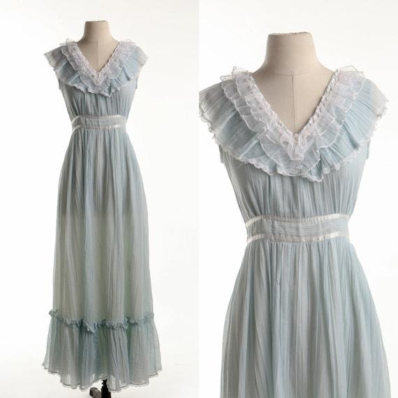 Gunne Sax Dress 70's Blue Prairie Sleeveless Long… - image 1