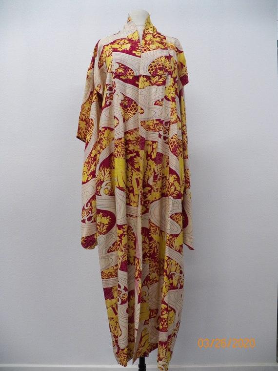 Vintage Floral Print Kimono Robe