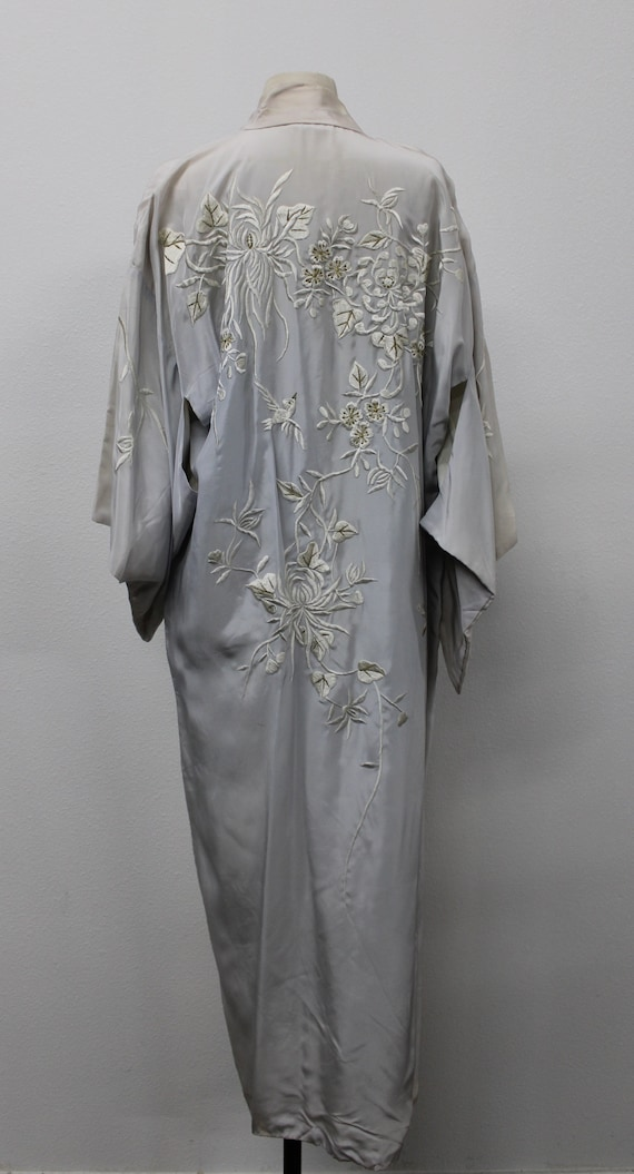 Gray Embroidered Kimono Robe / Japanese Kimono / W