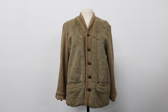 Men Cardigan Sweater / Vintage / 60's / Faux Fur /