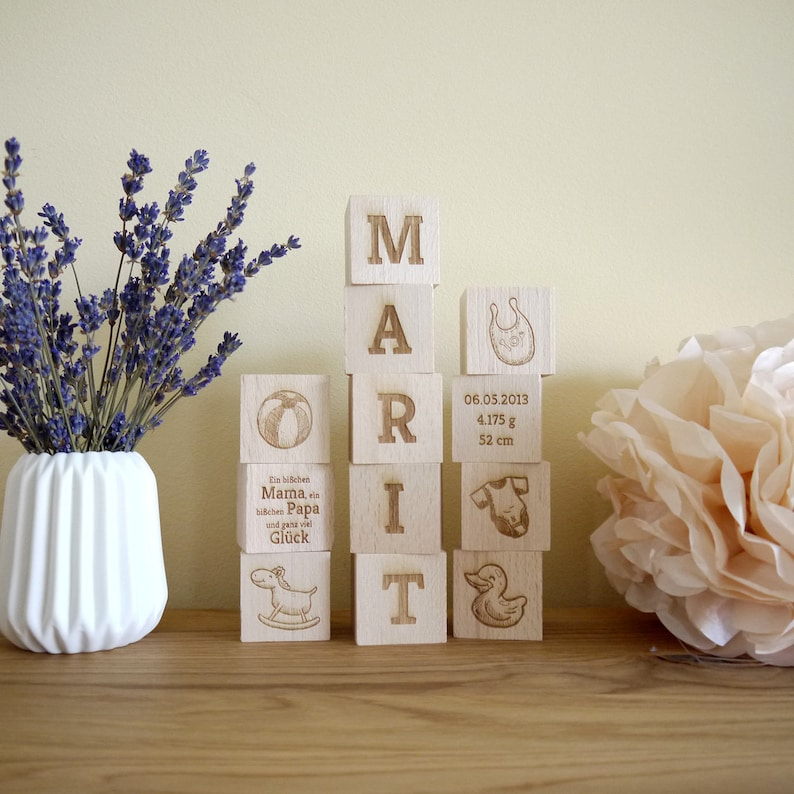 Engraved Wooden Cubes  Gift for Birth & Baptism image 1