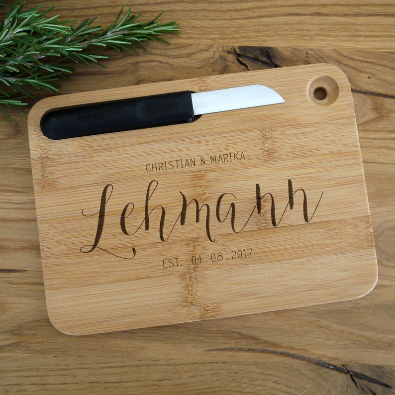 Engraved cutting board incl knives