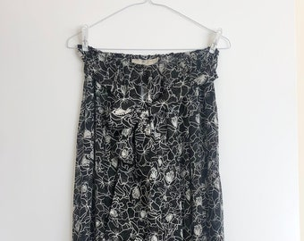 Blunauta silk trousers - floral wide summer trousers - super sheer black and white trousers