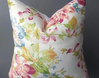 Floral Throw Pillow-Blue-Pink-Coral Decorative Pillow
