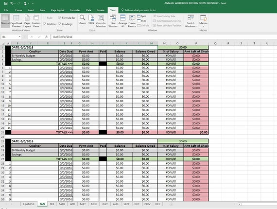 12 month budget plan spreadsheet with click instruction etsy