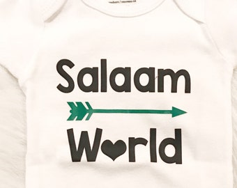 97f2ae891 Salaam World Baby Body Suit, eid gift, newborn gift, muslim gift, islamic  clothing, muslim baby shirt, hello world, baby clothing, new baby