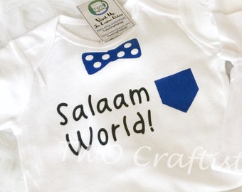 6069b3642 Salaam World Baby Boy Body Suit, eid gift, newborn gift, muslim gift,  islamic clothing, muslim shirt hello world, baby clothing, new baby