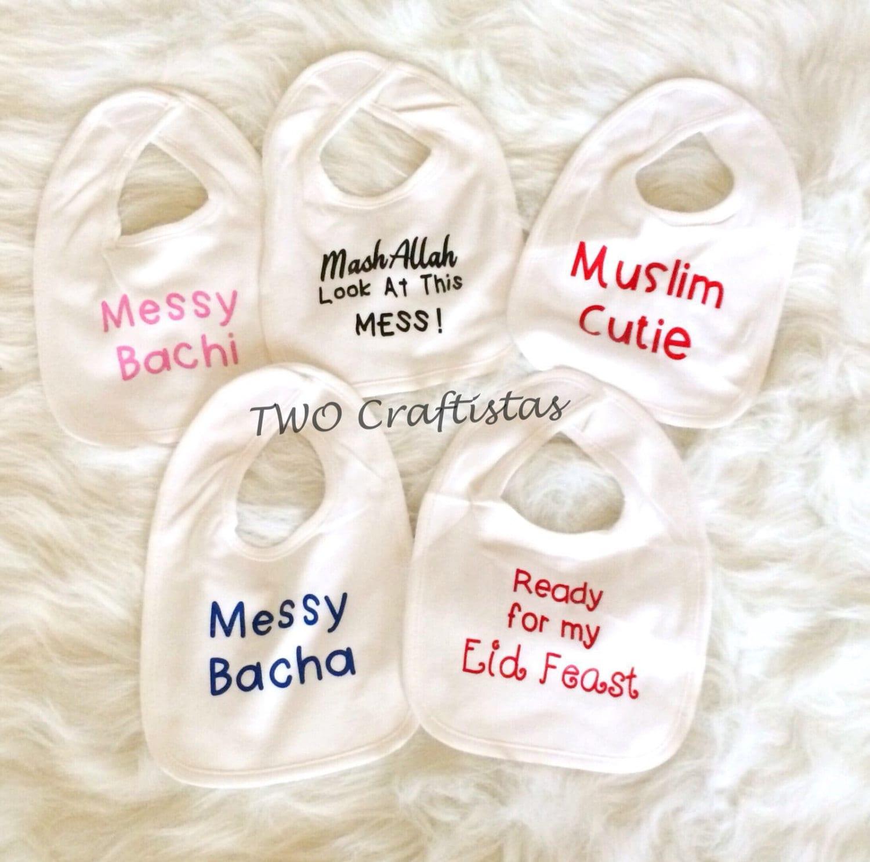 Cute Custom Bibs baby bib muslim baby bib islamic bib eid