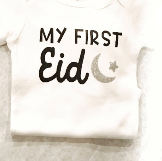 6e35863a2 MY First Eid with crescent moon design eid onesie gerber | Etsy