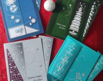 4 cards of PROMO/Christmas parties/cards geometric / energy cards new year/wishes for the holidays / Christmas greeting