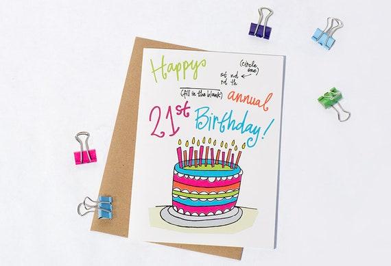 Greeting Card Annual 21st Birthday 10