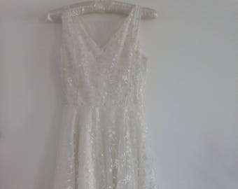 Vintage White Lace Dress | Flower Girl Dress | Wedding Dress | Sleeveless Summer Dress | Bridal Dress | Handmade Girls Lace Dress / XXS - XS