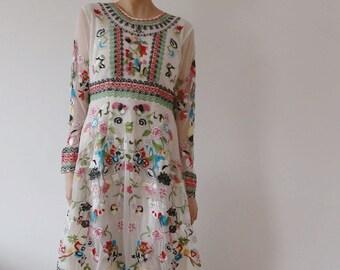 Embroidered Dress | Wedding Dress | White Tulle Dress | Sheer Floral Dress | Summer Party Dress | Vintage Floral Maxi Dress Long Frida Kahlo