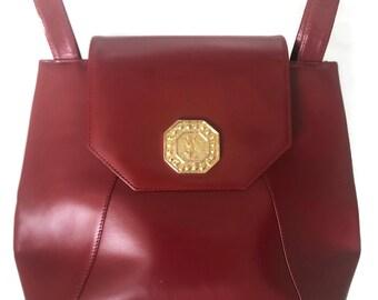 9cf0df53570 Yves Saint Laurent Bag | YSL Red Leather Purse | Vintage Saint Laurent Gold  Designer Metal Handbag Purse | Vtg Shoulder Bag | 1980s 80s