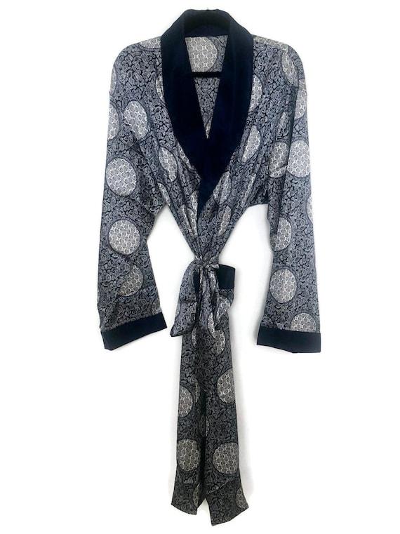Silky Smoking Jacket | Paisley Robe | Retro Dressi