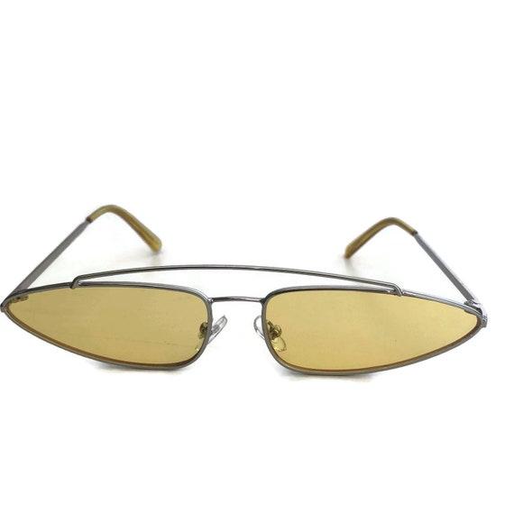 415cc189ce Retro Yellow Sunglasses Small 90s Sunglasses Skinny Narrow