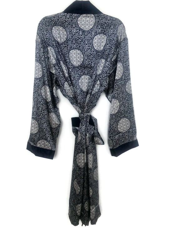 Silky Smoking Jacket   Paisley Robe   Retro Dress… - image 2
