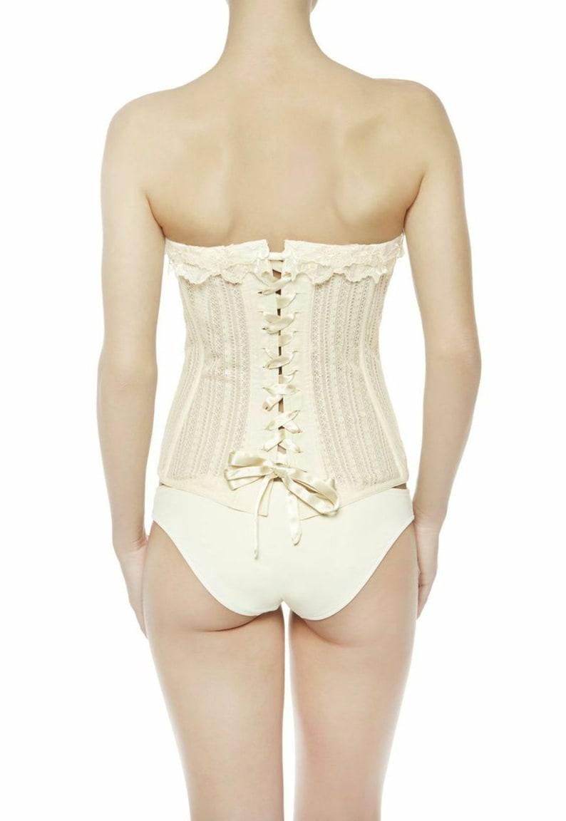 3466e6f2939 La Perla Corset Bustier in White Ivory Lace Up Bodysuit | Etsy