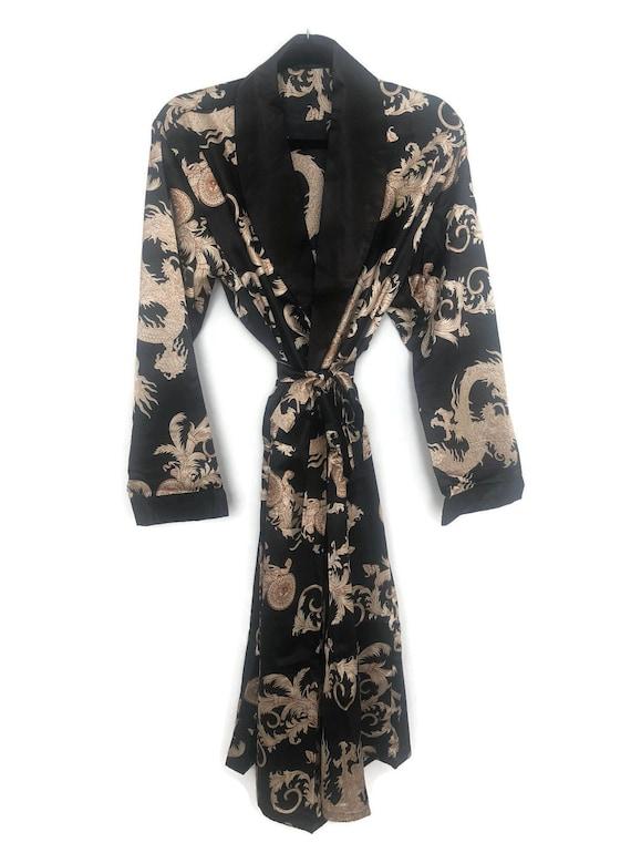 Dragon Robe | Black Mens Kimono | Silky Dressing G