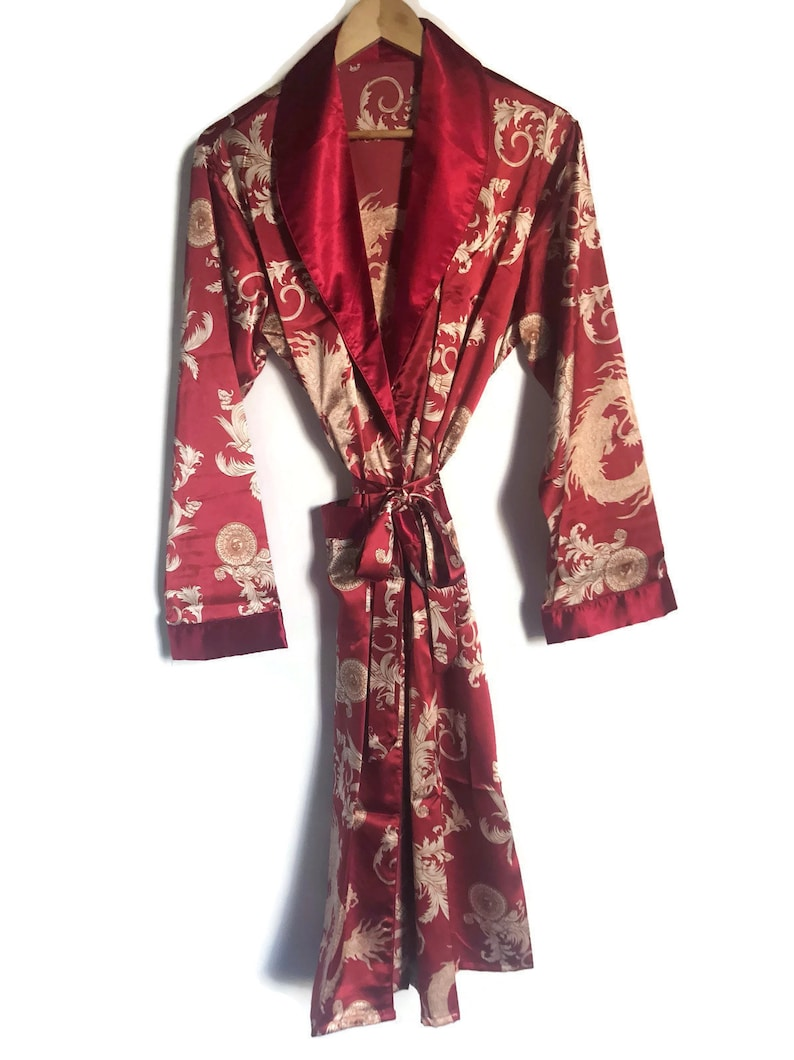 Dragon Robe | Mens Red + Silver Kimono Silky Dressing Gown | Japanese  Vintage Style Gold Smoking Jacket | Japan Unisex Boho Retro Dragons