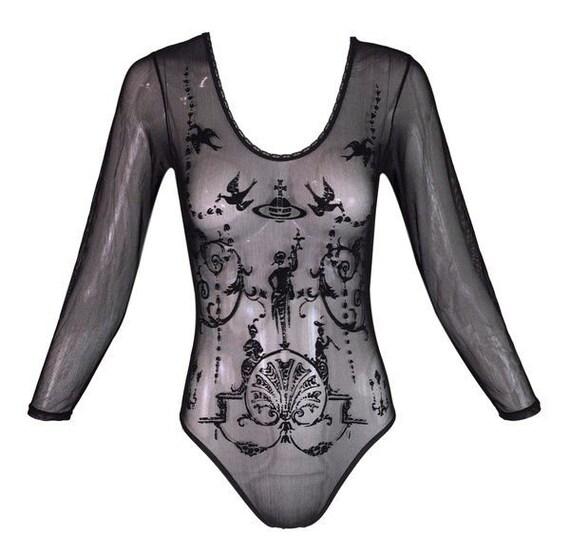 fd1141108a Vivienne Westwood Top Bodysuit for Sock Shop Vintage Sheer